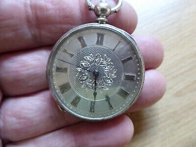 Pretty Antique  Solid   Silver Fob /  Pocket Watch Nice
