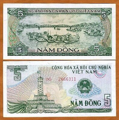 Vietnam, 5 Dong, 1985, P-92, UNC > anchored boats on a river