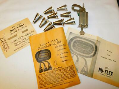Vtg RUG A DAY BRAIDING KIT 6 Braiders Clamp Lacer Instructions NU-FLEX Seligman