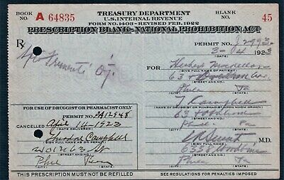 1923 Prohibition Prescription Antique Doctor Pharmacy Bar MacKellan Philadelphia