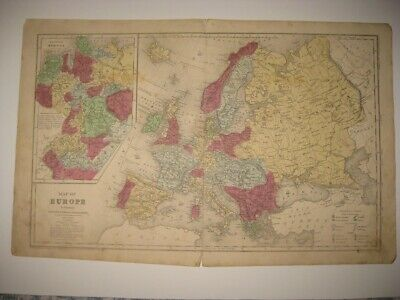 Superb Vintage Antique 1853 Europe Handcolored Map Ireland Russia Germany Fine