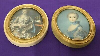 PAIR of Italian Silk Portrait Wall Miniature Pictures