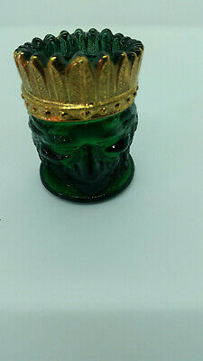 "Vintage Green w Hand Painted Gold Trim Indian Head Toothpick Holder 3"" Tall"