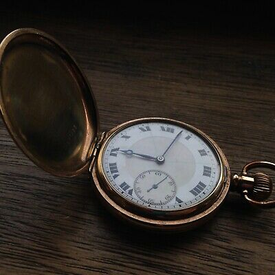 Antique Gold Plated Full Hunter Swiss Made 50mm Man's Pocket Watch - REPAIRS