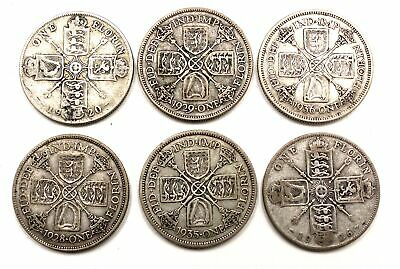 Collection of 6 Antique 1920-1930s KING GEORGE V Silver ONE FLORIN Coins - G09