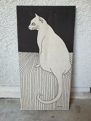 Vintage Marushka Cat Textile Art Wall hanging 24x12