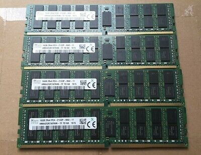 64GB (4x 16GB) Hynix PC4-2133P DDR4 ECC RegDIMM from Germany P/N 752369-081 used