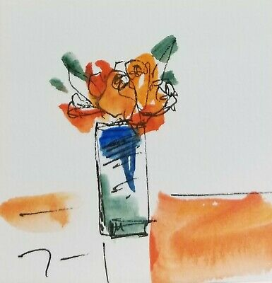 JOSE TRUJILLO - ORIGINAL Watercolor Painting SIGNED Small 3x3 Orange Roses
