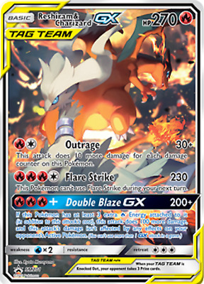 Pokemon Reshiram and Charizard GX Promo SM 201 Alt ART JUMBO Oversize Card NM!!!