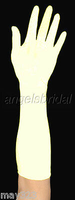 "15"" Ivory Elbow Length Stretch Satin Bridal Wedding Prom Costume Opera Gloves"