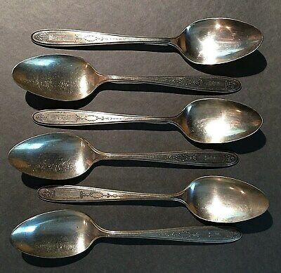 6 Vtg Community Plate Serving Spoon * Pretty Pattern * Monogram 'A'