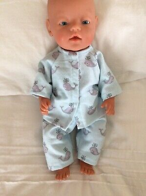 "DOLLS CLOTHES To Fit 17"" Boy Or Girl Baby Born Doll - Pyjamas -Mint Whales"