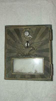 "Brass Post Office Box Door Only Eagle Design W/ Combo Lock 6 1/4"" x 5 1/2"" x 3/4"
