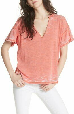 "FREE PEOPLE $58 ""Maddie"" V-Neck Distressed Burnout Top S 4/6 NWT Small Coral"