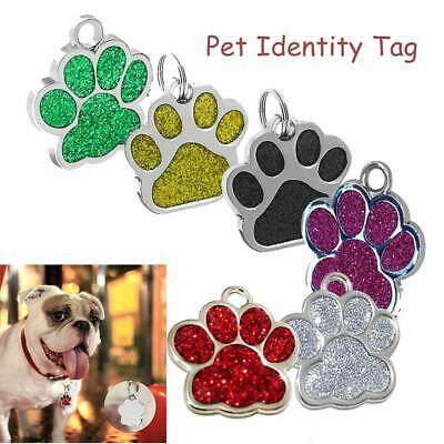 Glitter Paw Dog Engraved ID Name Tag Personalised Pet Cat Identity Tags