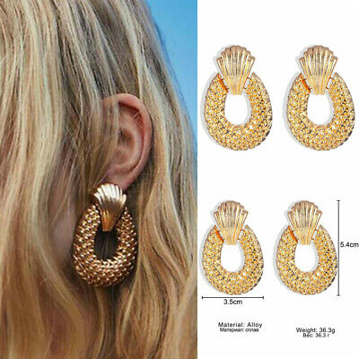Women Fashion Statement Metal Geometric Boho Dangle Big Earrings Jewelry