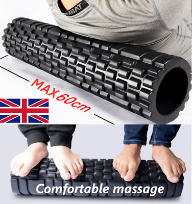 60CM PORTABLE Yoga Pilates Sports Exercise Hollow Foam Roller Trigger Point Grid