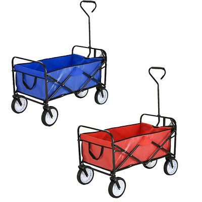 100KG Folding Hand Cart Garden Wagon Trolley Pull Along Festival Camping XL Cart