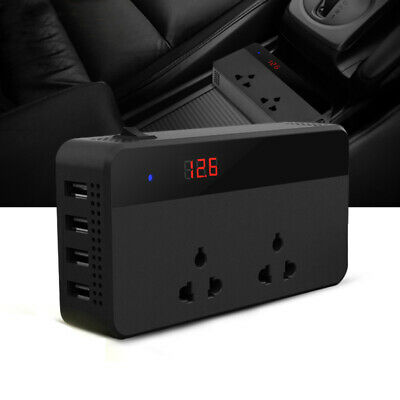 Car 12V to 220V Power Inverter Voltage Converter 4 USB Charger Cigarette Lighter