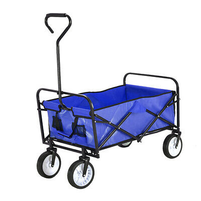Blue Pull Along Wagon Cart Trolley Festival Beach Foldable Garden Transport XL
