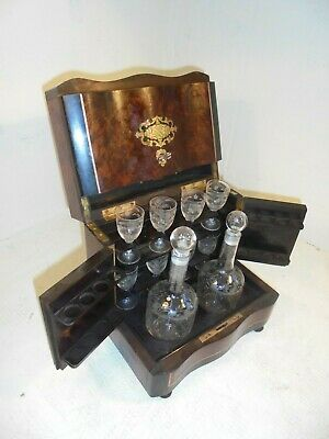Antique French Boulle type Tantalus , Decanter and Glass set