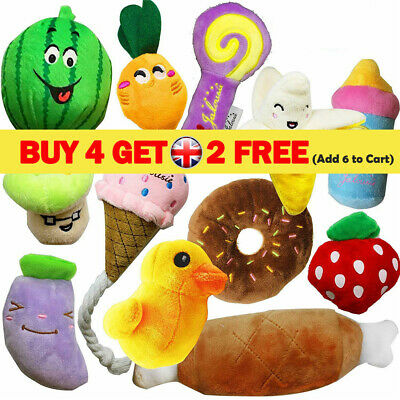 Pet Dog Soft Chew Toy Puppy Doggy Plush Sound Eggplant Carrot Squeaker 12 Type K