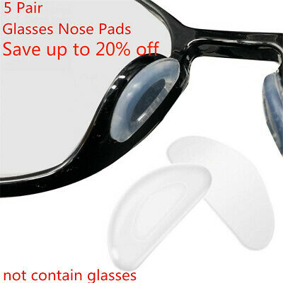 5 Pairs Silicone Anti-Slip Stick On Nose Pads for Eyeglass Sunglasses Glasses
