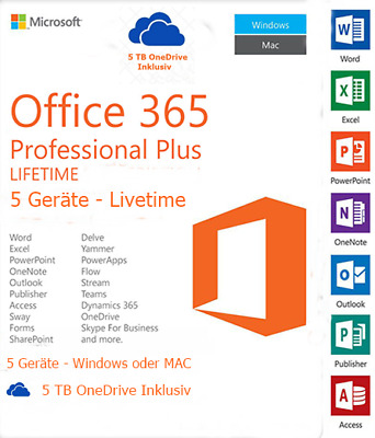 MS Office 365 Professional Plus für 5 PC/MAC/Tab, 5TB OneDrive 2016 Pro Plus