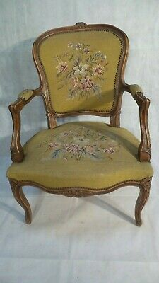 Antique FRENCH TAPESTRY upholstered CHAIR 1920 Hand Made PETIT POINT YELLOW