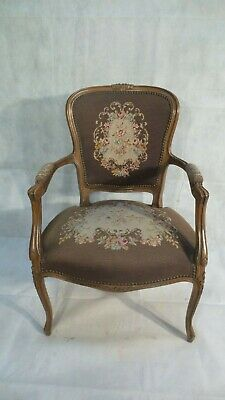 Antique FRENCH TAPESTRY upholstered CHAIR C1920 Hand Made PETIT POINT  BROWN