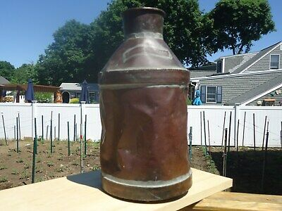 Early 19Th Century Antique Copper Water Jug Norfolk Fire Department Hand Made