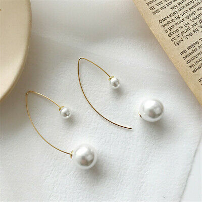 White Round Size Shell Pearl Earrings Women's Cultured Wedding Aurora Classic