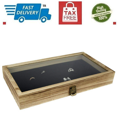 Large Wood Watch Box Glass Top.Jewelry Ring Display Wooden Organizer Case Oak