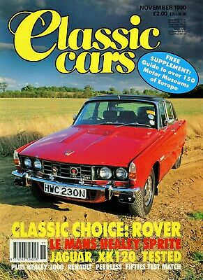 CLASSIC CARS magazine 11/90 feat. P6, Sprite, LD10/Y-type, XK120, Healey 3000
