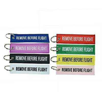 Fabric Key Ring Remove Before Flight Key chain Embroidery Luggage Tag Key Ring