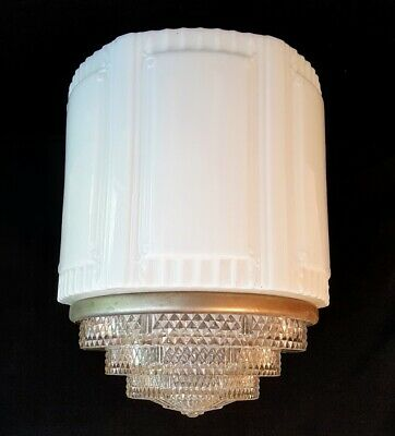 ART DECO MILK GLASS & CLEAR SKYSCRAPER CHANDELIER CEILING LIGHT SHADE GLOBE 3pc