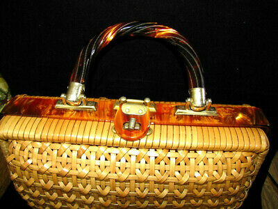 Bakelite Wicker Rattan Vintage PURSE Hand Made in British Hong Kong Woven