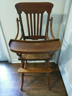 Vintage Early 1900's Oak High Chair