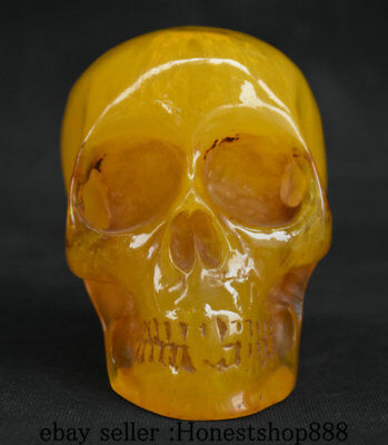 4'' Rare Chinese Amber Carving Skull Skeleton Head People Statue Sculpture AA1