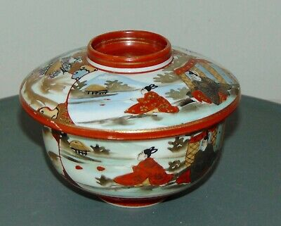 ANTIQUE JAPANESE Covered RICE BOWL Hand Painted SIGNED