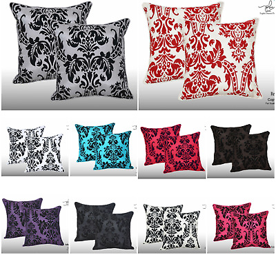 """Pack Of 2 Luxury English Damask Flock Cushion Covers 17"""" X 17"""" Twin Pack"""