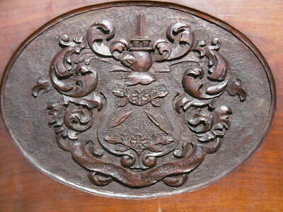 SUPERB 19thc GOTHIC HERALDIC MAHOGANY CARVED COAT OF ARMS PANEL WITH KNIGHT