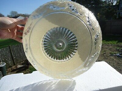 "***Rare***Beautiful Vintage Kitchen Ceiling Light Glass Fixture 14"" Diameter Vg+"