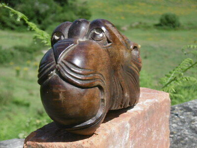 SUPERB 19thc GOTHIC OAK CARVED GARGOYLE WITH BALL IN MOUTH (2)