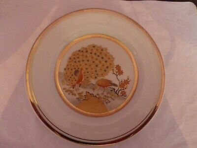 Fabulous Vintage Japanese Porcelain Peacocks Design Plate 16 Cms Diameter