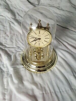 Vintage Elgin Quartz Anniversary Clock with Westminster Chime w/ Glass Dome USA