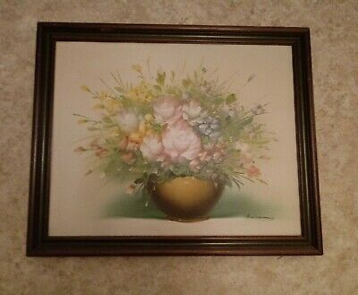 Vntg floral still life painting wood frame 18 1/2 x 22 1/2 cottage chic shabby