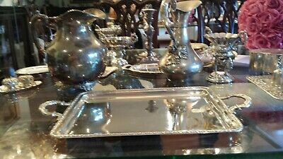 580g AMAZING TRAY CARVING ROLEOS & EMPIRE BORDER DESIGN STERLING SILVER.