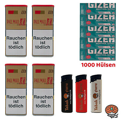 4x Pall Mall Authentic Red/Rot Tabak á 115 g, Gizeh Extra Hülsen, Feuerzeuge