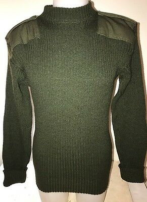 42 US Marine Corps USMC Green Knit Sweater Service Wool wooly pulley Size L